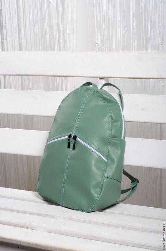 Рюкзаки ручной работы. Ярмарка Мастеров - ручная работа. Купить Мятный рюкзак с карманами. Handmade. Мятный, женский рюкзак
