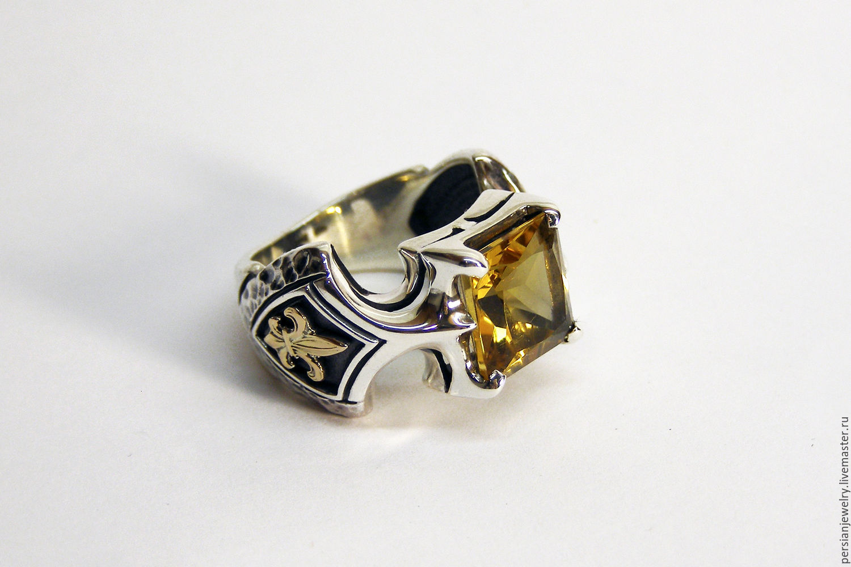 Silver ring 'Royal power' with citrine, Ring, Sevastopol,  Фото №1