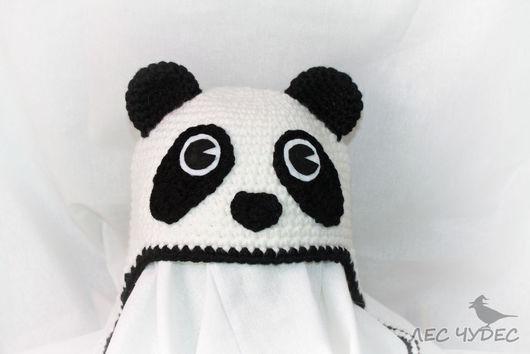 """Шапки ручной работы. Ярмарка Мастеров - ручная работа. Купить Детская шапка """"Панда"""". Handmade. Чёрно-белый, прикольная шапка"""
