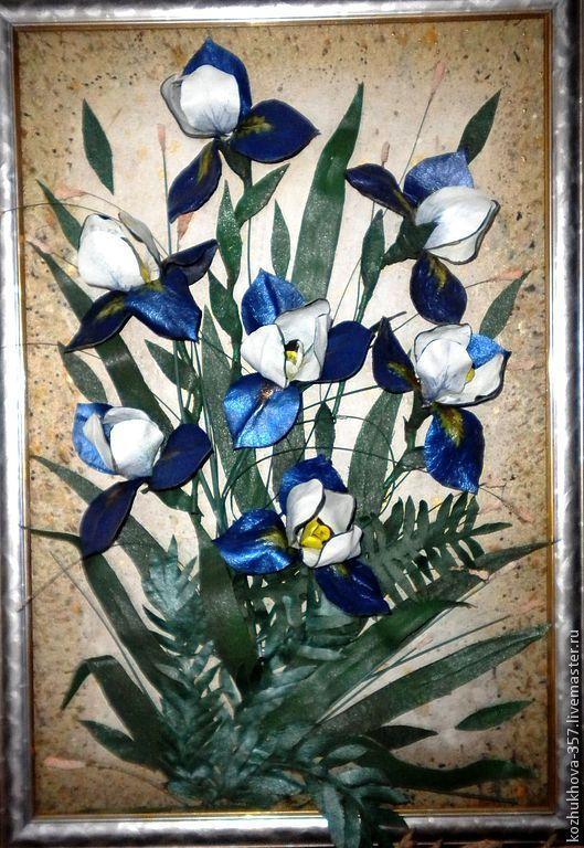 """Картины цветов ручной работы. Ярмарка Мастеров - ручная работа. Купить Картина из натуральной кожи""""Голубой парус"""". Handmade. Синий"""