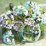 """Картины и панно ручной работы. Ярмарка Мастеров - ручная работа Картина-миниатюра """"Ажурная пена гортензии"""" цветы, белый, зеленый. Handmade."""