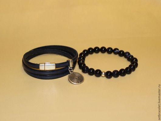 Браслеты ручной работы. Ярмарка Мастеров - ручная работа. Купить Кожаный браслет из кожи синей 5мм лабиринт, авантюрин. Handmade.