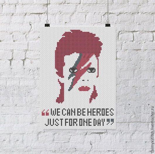 """Вышивка ручной работы. Ярмарка Мастеров - ручная работа. Купить Схема для вышивки крестом """"Дэвид Боуи"""" (David Bowie). Handmade."""