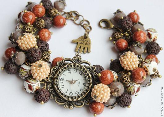"""Часы ручной работы. Ярмарка Мастеров - ручная работа. Купить Часы """"Осень-3"""". Handmade. Коричневый, часы-браслет"""