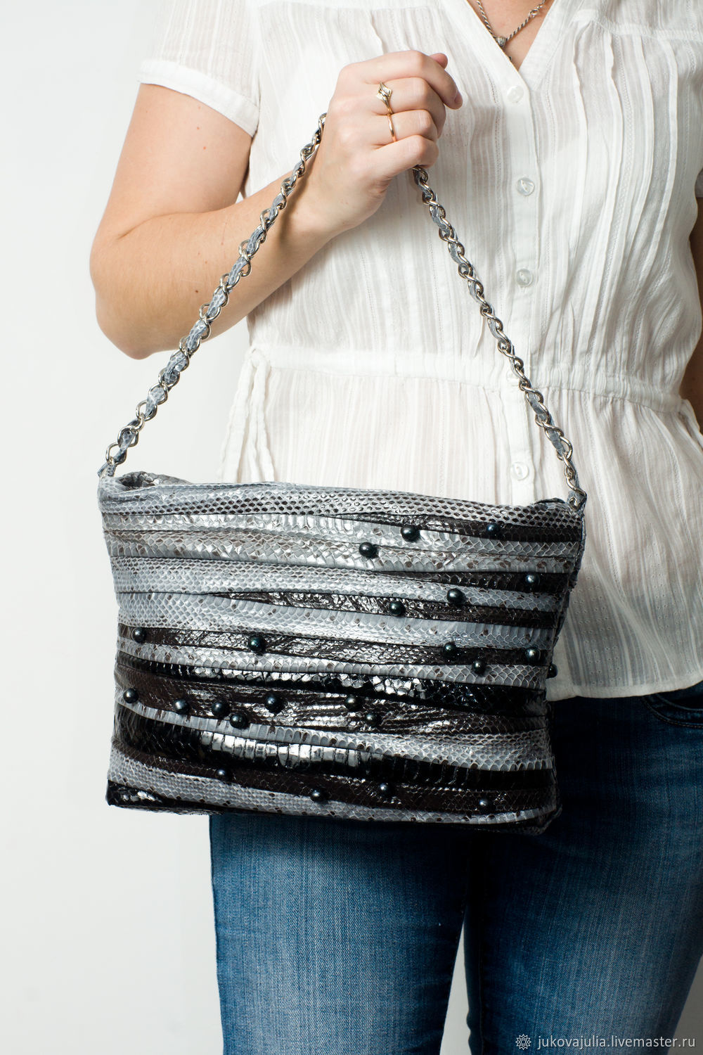 Crossbody bag with chain, genuine leather water snake Black pearl, Crossbody bag, Stavropol,  Фото №1