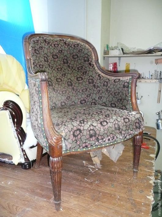 Реставрация. Ярмарка Мастеров - ручная работа. Купить Реставрация и перетяжка старинного кресла красного дерева.. Handmade. Коричневый, перетяжка кресло