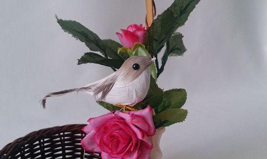 Материалы для флористики ручной работы. Ярмарка Мастеров - ручная работа. Купить Птичка серо-коричневая ДП16. Handmade. Птичка, для топиария