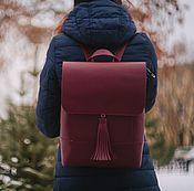 """Рюкзаки ручной работы. Ярмарка Мастеров - ручная работа Рюкзак кожаный женский """"Saffiano"""" (Бордовый). Handmade."""