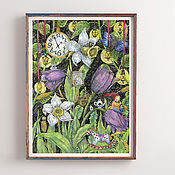 Картины и панно handmade. Livemaster - original item Posters on the wall Old fairy tale Painting with flowers for the interior. Handmade.