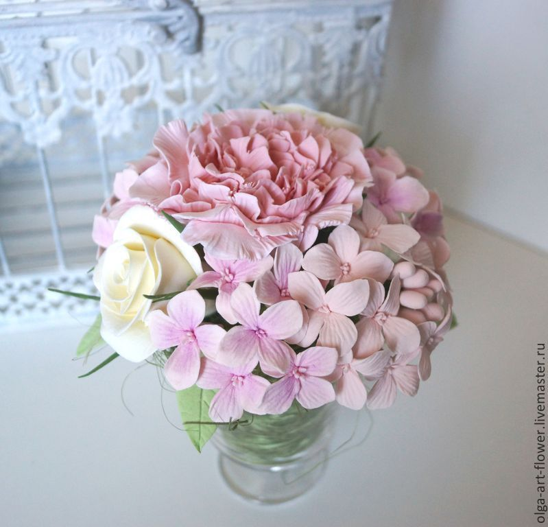 bouquet of tenderness. Flowers from polymer clay in glass, Composition, Moscow,  Фото №1