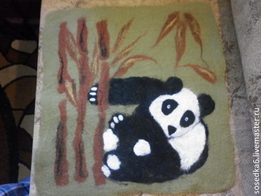 """Животные ручной работы. Ярмарка Мастеров - ручная работа. Купить ПАННО """"ПАНДА"""". Handmade. Разноцветный, панно на стену, панно из шерсти"""
