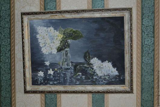 """Натюрморт ручной работы. Ярмарка Мастеров - ручная работа. Купить """"Черно- белый натюрморт"""". Handmade. Черный, белые цветы, свет"""