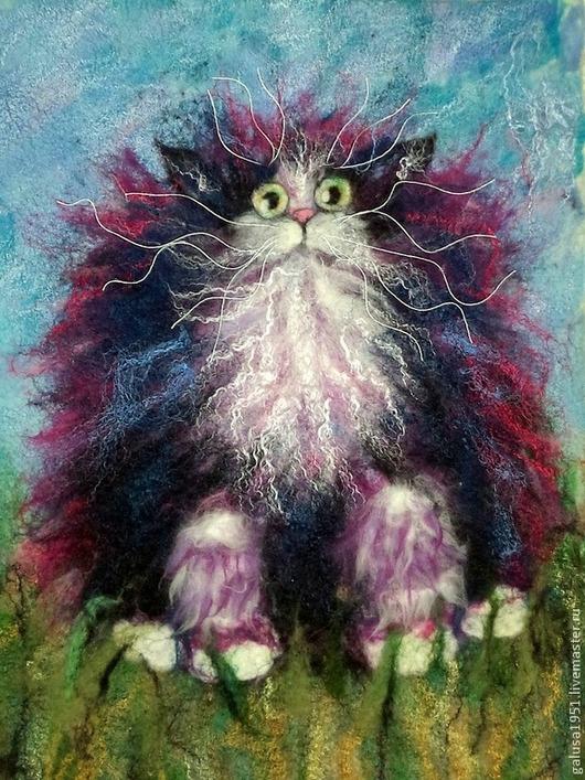 """Животные ручной работы. Ярмарка Мастеров - ручная работа. Купить Валяная картина """" Тигрица на лугу"""". Handmade. Картина"""