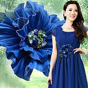 Украшения handmade. Livemaster - original item The decoration of leather.Brooch hair clip leather flower the blue poppy.. Handmade.