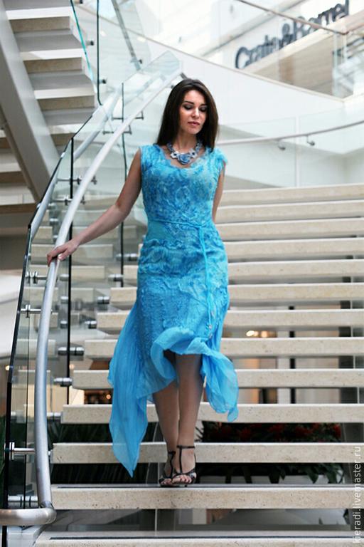"""Платья ручной работы. Ярмарка Мастеров - ручная работа. Купить валяное летнее платье """" Голубая вода"""". Handmade. Голубой"""