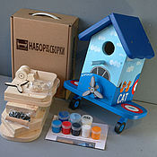 """Для дома и интерьера ручной работы. Ярмарка Мастеров - ручная работа Скворечник """"Самолет-3"""" в виде набора для сборки с красками. Handmade."""
