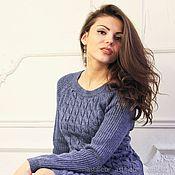 Одежда ручной работы. Ярмарка Мастеров - ручная работа Теплый шерстяной костюм свитер и юбка синий. Handmade.