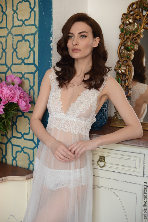 17152280764 Long Tulle Bridal Nightgown With Lace F11(Lingerie