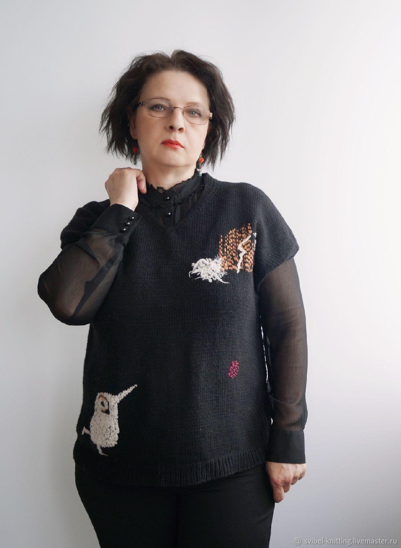"""Жилет вязаный """"Белая ворона"""" черный с вышивкой, Жилеты, Оренбург,  Фото №1"""