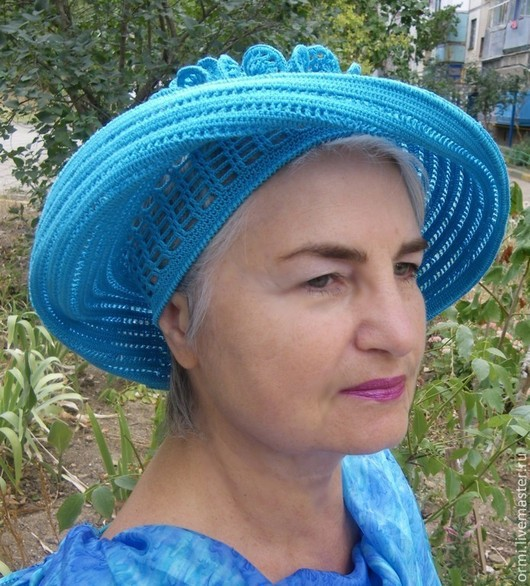 """Шляпы ручной работы. Ярмарка Мастеров - ручная работа. Купить Шляпа """"Солнышко"""" бирюзовый вариант. Handmade. Бирюзовый, для отдыха"""