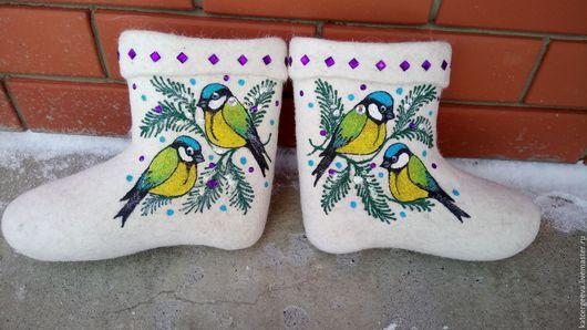 """Обувь ручной работы. Ярмарка Мастеров - ручная работа. Купить Валенки """"Синички"""". Handmade. Белый, валенки для дома, валенки женские"""