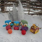 Куклы и игрушки ручной работы. Ярмарка Мастеров - ручная работа Совы. Вязаная игрушка из шерсти Семейка сов. Handmade.