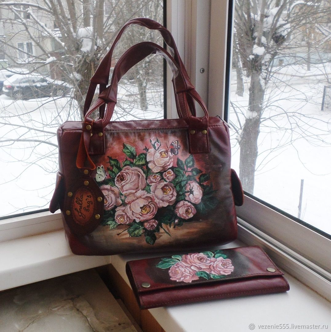 Bag and dressing case leather with painting.Kit for Elena, Classic Bag, Noginsk,  Фото №1