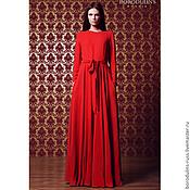 Платья ручной работы. Ярмарка Мастеров - ручная работа Красное шелковое платье с поясом и карманами. Handmade.