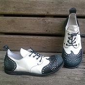 Обувь ручной работы. Ярмарка Мастеров - ручная работа Кожаные ботинки VICE VERSA черно-белые. Handmade.