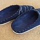 """Обувь ручной работы. Валяные тапки """"Морские"""" мужские синие. Ирина (Irina-iresh). Ярмарка Мастеров. Мужские шлёпки"""