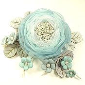 Украшения handmade. Livemaster - original item Valley Cloud Colors. Brooch with flowers made of fabric and genuine leather. Handmade.