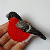 Украшения handmade. Livemaster - original item Brooch-pin: Bullfinch felted brooch.. Handmade.