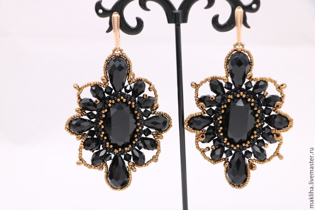 Earrings Handmade Livemaster Evening Black Lace