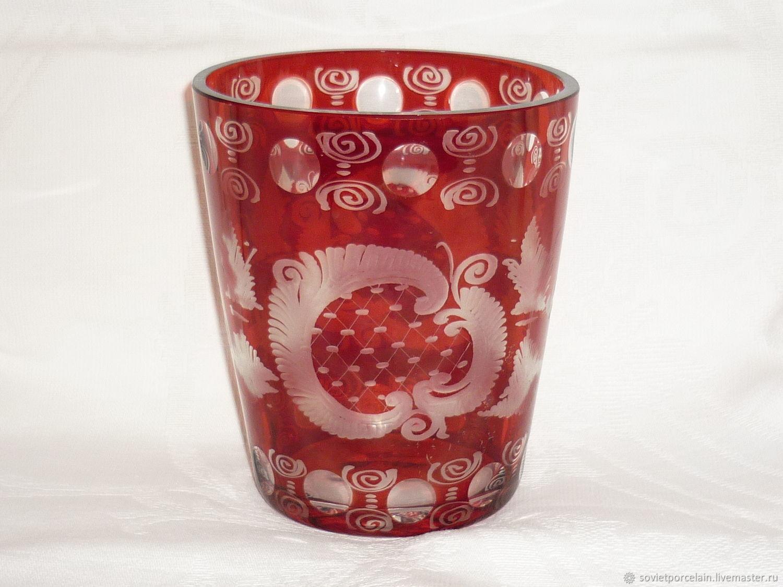 Vase 16,2 cm.. Color RUBY glass, ENAMEL. Hand carved from EGERMANN, Vintage interior, St. Petersburg,  Фото №1