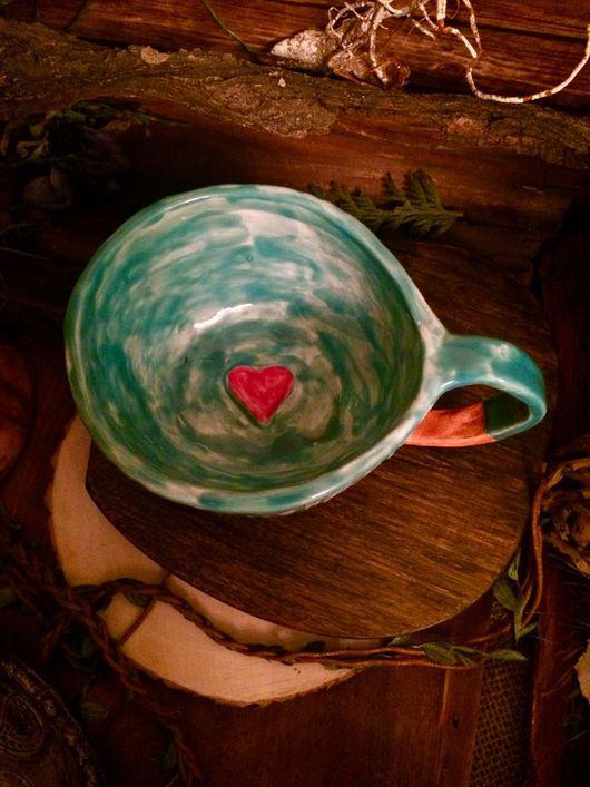 Кружки и чашки ручной работы. Ярмарка Мастеров - ручная работа. Купить Кружки с сердечками на дне. Кружки с морем. Морская чашка.. Handmade.