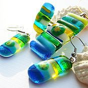Украшения handmade. Livemaster - original item Jewelry sets:made of glass the Sun on the beach Fusing Glass. Handmade.