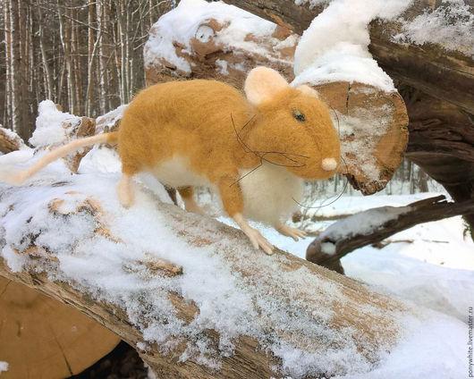 Игрушки животные, ручной работы. Ярмарка Мастеров - ручная работа. Купить Мышка песчанка. Валяная игрушка мышь. Handmade. Оранжевый