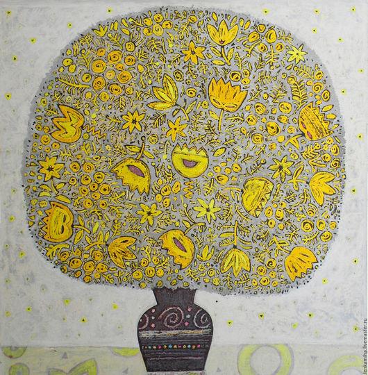 Картины цветов ручной работы. Ярмарка Мастеров - ручная работа. Купить Жёлтый букет. Handmade. Лимонный, белый, букет