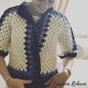 Одежда handmade. Livemaster - original item Jacket knitted wool white with blue and black. Handmade.