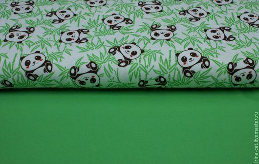 """Шитье ручной работы. Ярмарка Мастеров - ручная работа. Купить Интерлок """"Панды"""". Handmade. Зеленый, ткани для шитья, зеленый цвет"""