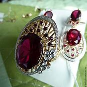 Украшения handmade. Livemaster - original item Ruby Cake. Earrings, a ring with rubies, diamonds in gold. Handmade.