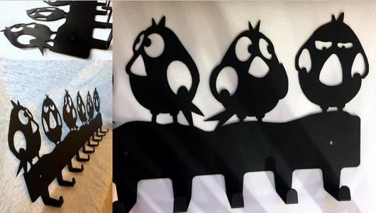 Прихожая ручной работы. Ярмарка Мастеров - ручная работа. Купить Вешалка для одежды Птички 9 крючков. Handmade. Вешалка