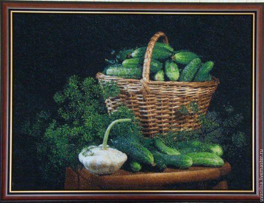 """Натюрморт ручной работы. Ярмарка Мастеров - ручная работа. Купить Вышитая картина """"Огурчики"""". Handmade. Вышитая картина, корзина с огурцами"""
