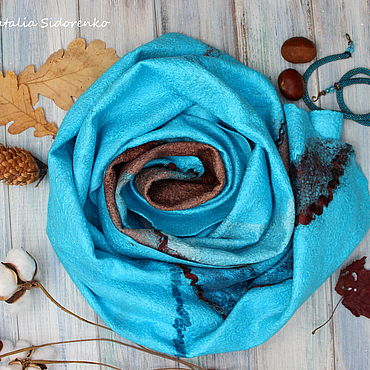 Accessories handmade. Livemaster - original item Wraps: Tippet felted aquamarine. Handmade.