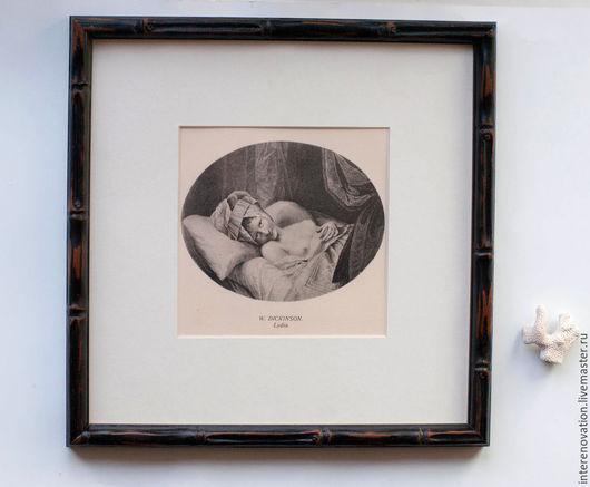 """Люди, ручной работы. Ярмарка Мастеров - ручная работа. Купить """"Лидия - ню"""" английская жанровая гравюра 18 века в бамбуковой раме. Handmade."""