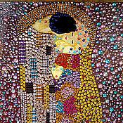 Картины и панно handmade. Livemaster - original item Painting from rhinestones in the style of mosaic Gustav Klimt The Kiss. Handmade.