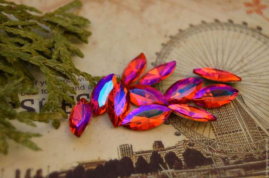 """Для украшений ручной работы. Ярмарка Мастеров - ручная работа. Купить Наветт 7х15 """"Гиацинт"""". Handmade. Рыжий, кристаллы материалы"""