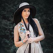 Sundresses handmade. Livemaster - original item Long linen sundress with embroidery