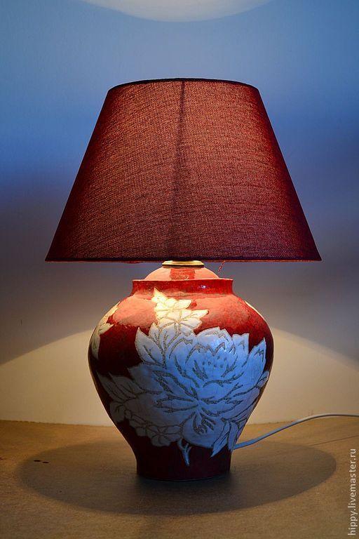 """Освещение ручной работы. Ярмарка Мастеров - ручная работа. Купить Лампа """"Бабушкин гобелен"""".. Handmade. Светильник ручной работы, коралловый"""
