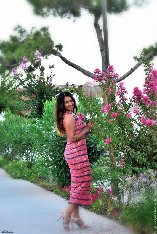"""Платья ручной работы. Ярмарка Мастеров - ручная работа. Купить Шелковое платье """"Моника"""". Handmade. Коралловый, платье крючком"""